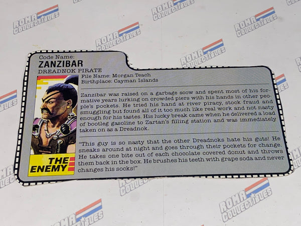 GI joe File Card - 1987 ZANZIBAR