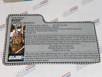 GI joe File Card - 1988 BUDO