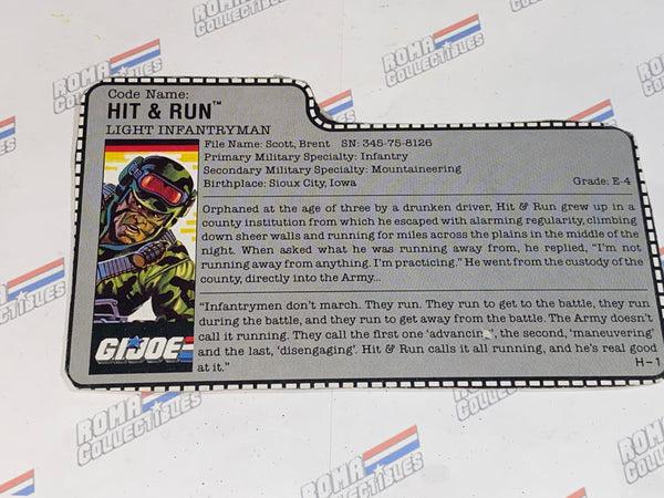GI joe File Card - 1988 HIT N RUN