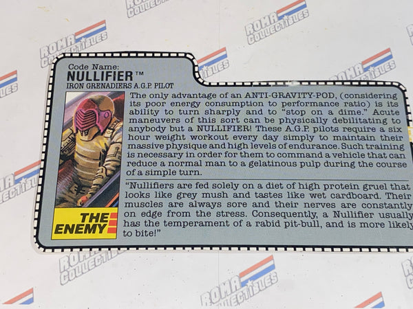 GI joe File Card - 1988 NULLIFIER