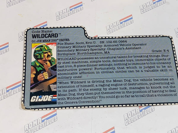 GI joe File Card - 1988 WILD CARD