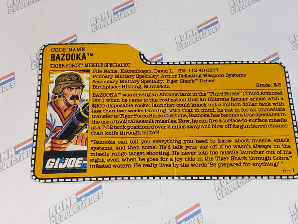 GI joe File Card - 1988 BAZOOKA v2 -TIGER FORCE