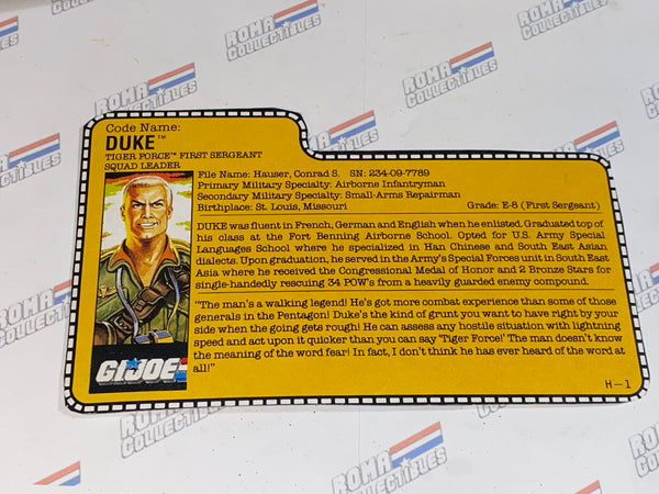GI joe File Card - 1988 DUKE v2 -TIGER FORCE