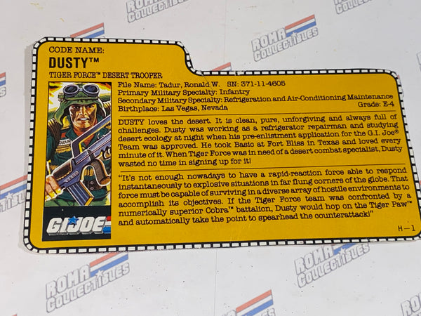 GI joe File Card - 1988 DUSTY v2 -TIGER FORCE