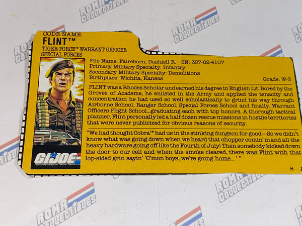 GI joe File Card - 1988 FLINT v2 -TIGER FORCE