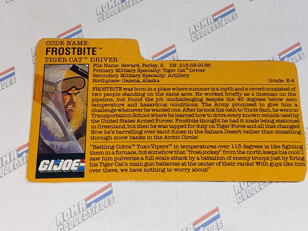 GI joe File Card - 1988 FROSTBITE v2 -TIGER FORCE