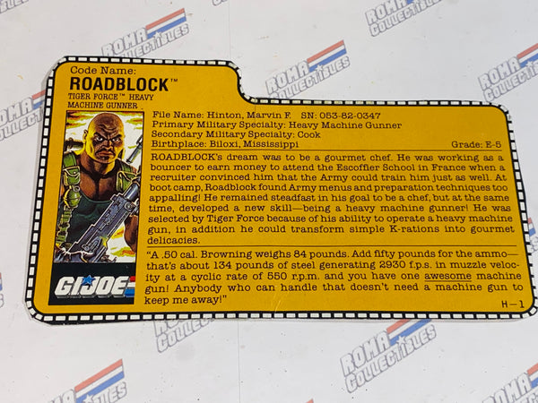 GI joe File Card - 1988 ROAD BLOCK v3 -TIGER FORCE