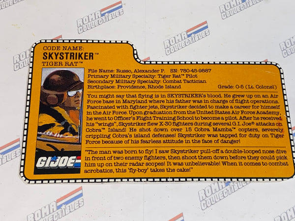 GI joe File Card - 1988 SKYSTRIKER -TIGER FORCE