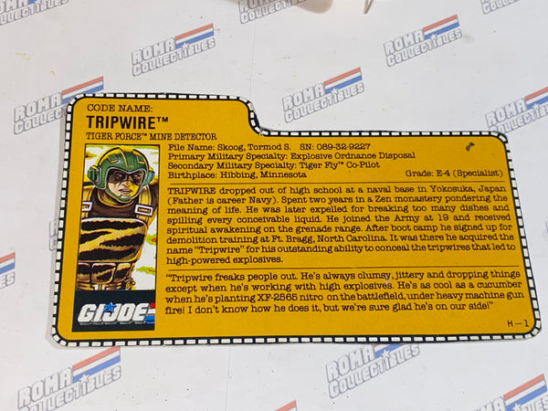 GI joe File Card - 1988 TRIPWIRE v3 -TIGER FORCE