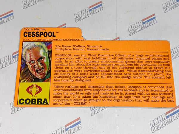 GI joe File Card - 1991 CESSPOOL - Eco Warriors