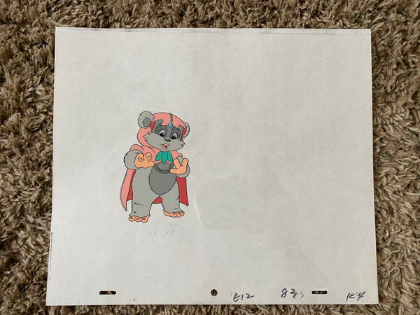 EWOKS Animation Cel - KNEESAA 001 - with white background and original pencil art