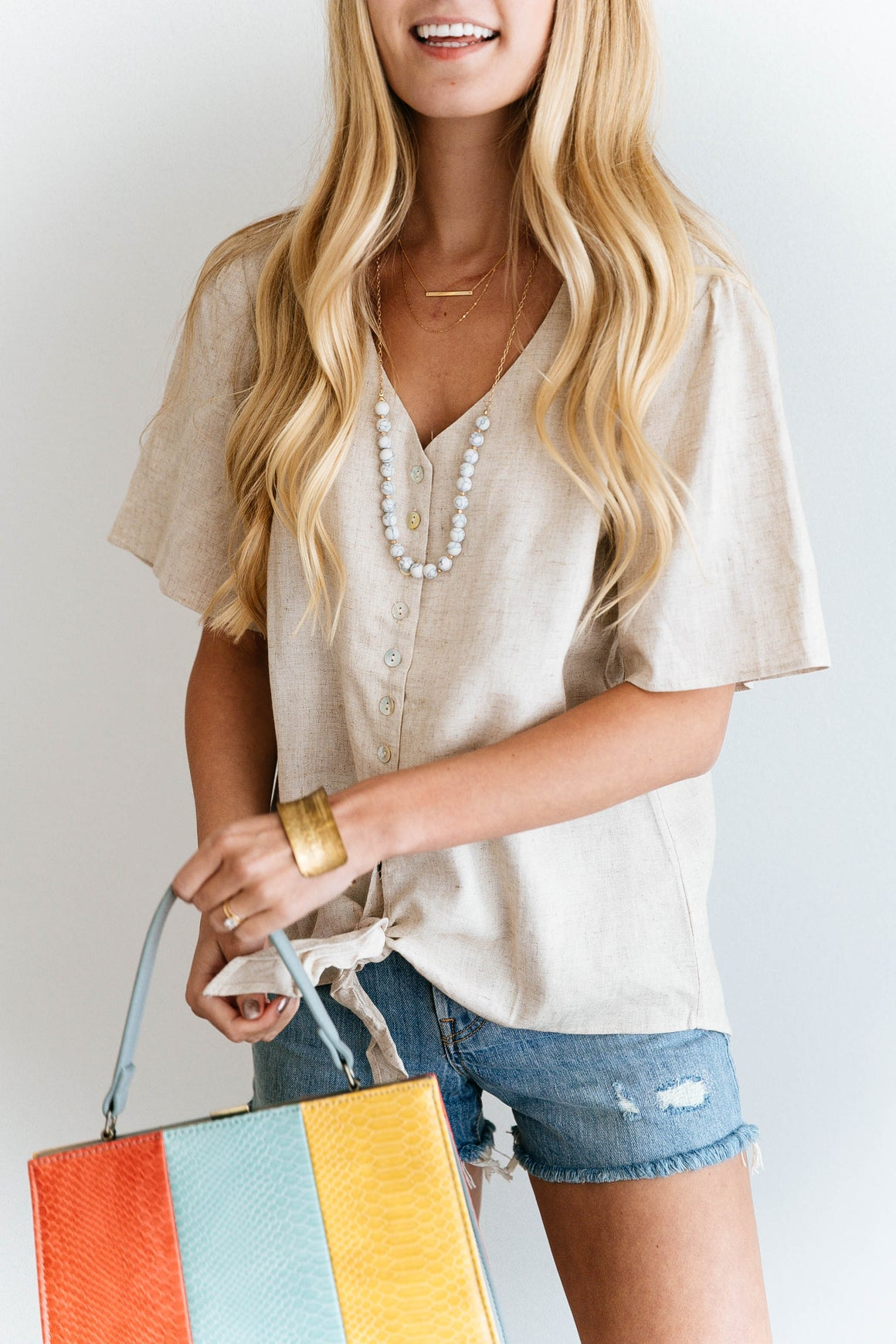 Natural Linen Button-Down Top