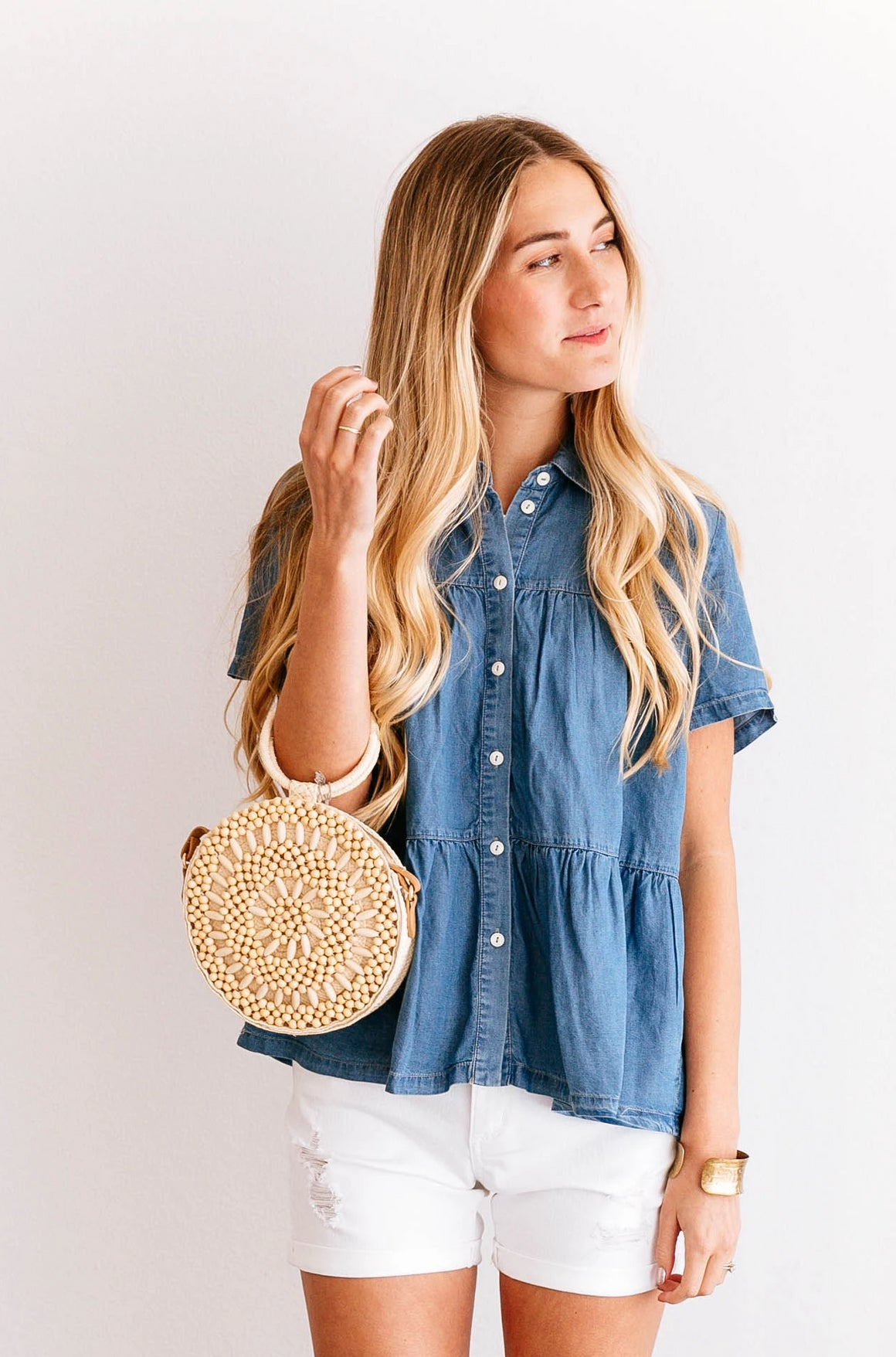 Chambray Tiered Button-Down Top