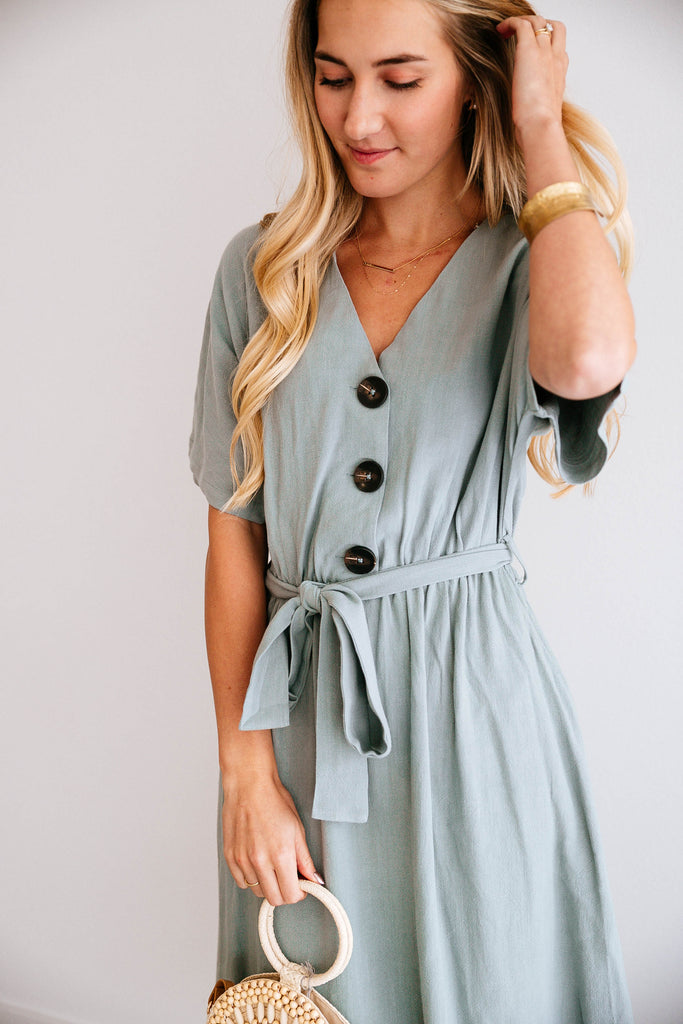 SEA GREEN BUTTON-FRONT MIDI DRESS