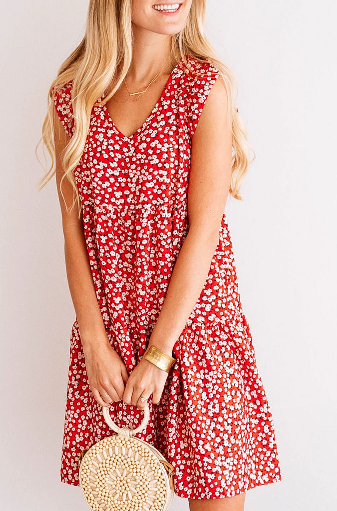 Floral Tiered Flutter-Sleeve Dress