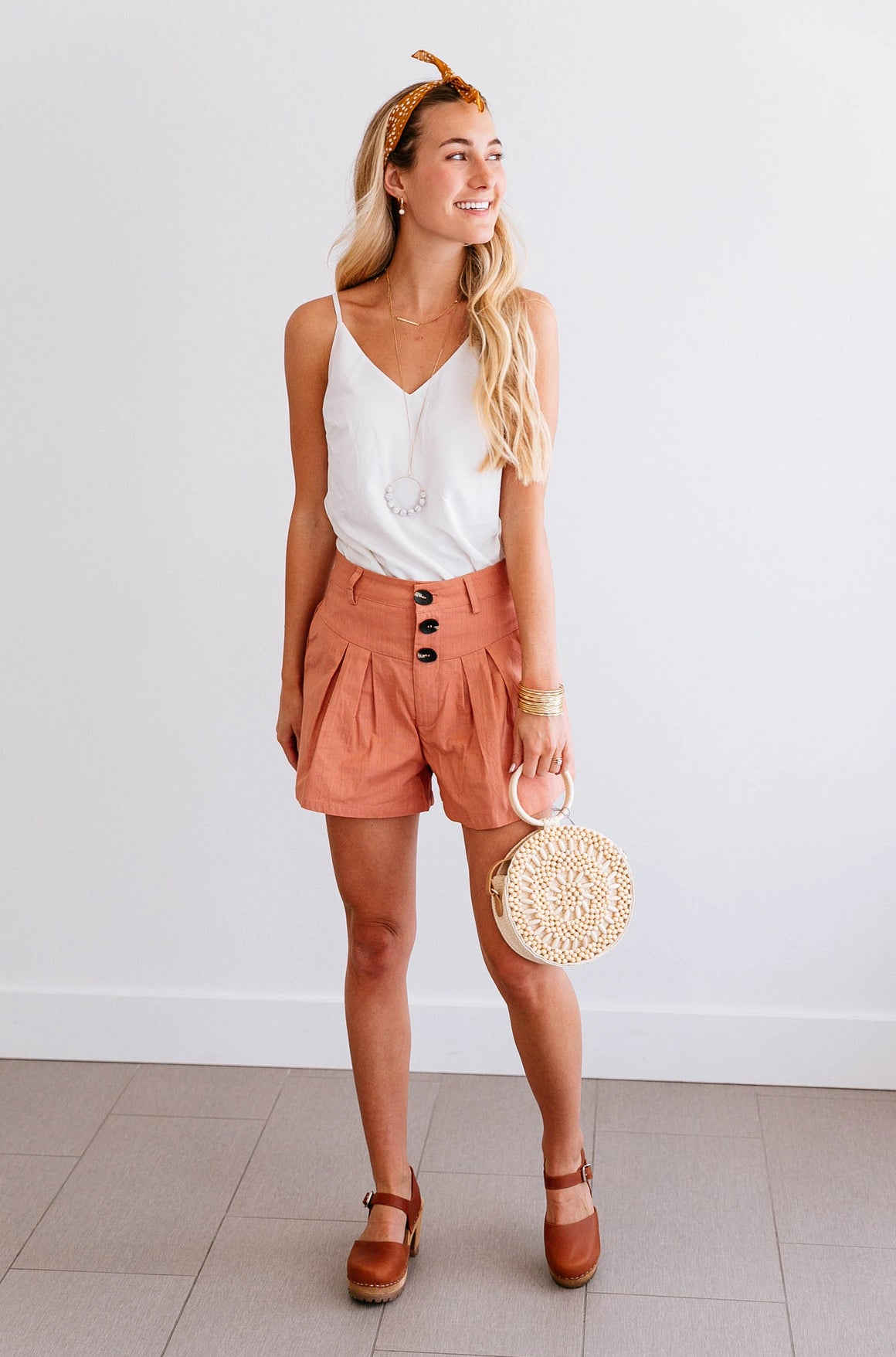 Clay Button High-Waist Shorts