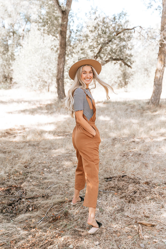 Camel Pocket Crop Overalls