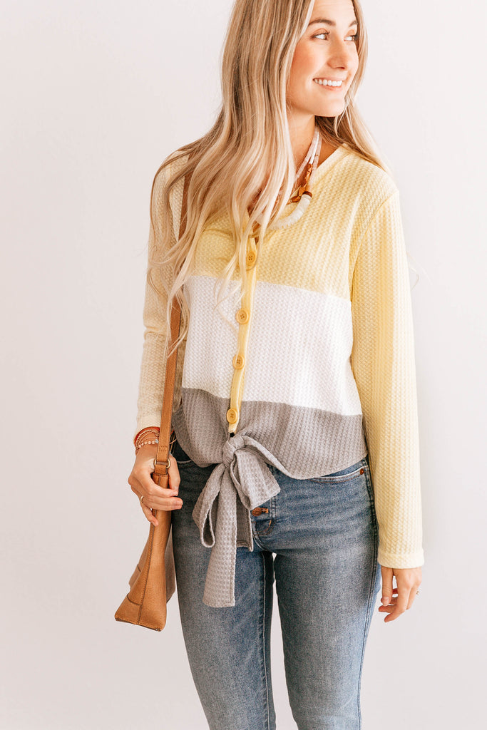 Waffle Knit Button up Top
