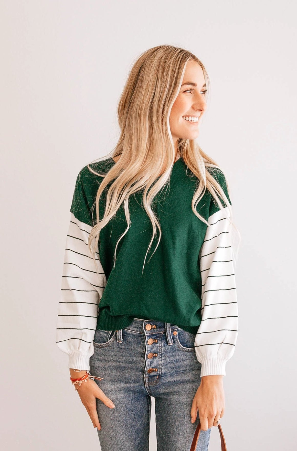 Stripe-Sleeve V-Neck Sweater