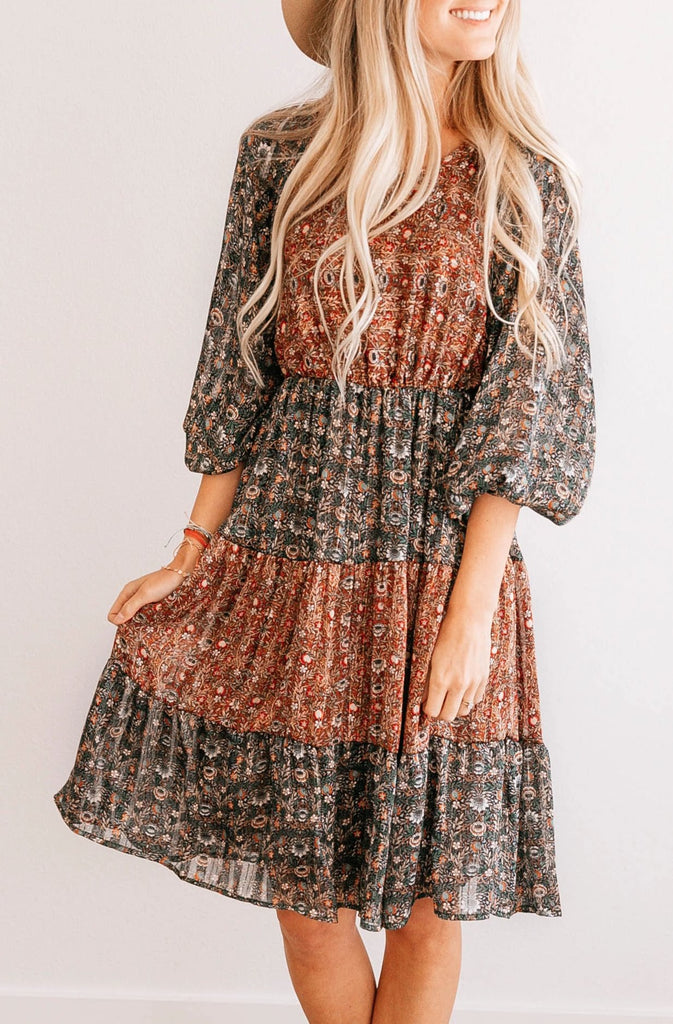 Puff Sleeve Tiered A-Line Dress