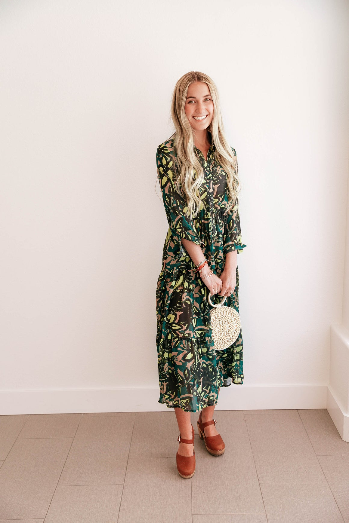 Green Button-Up A Line Dress