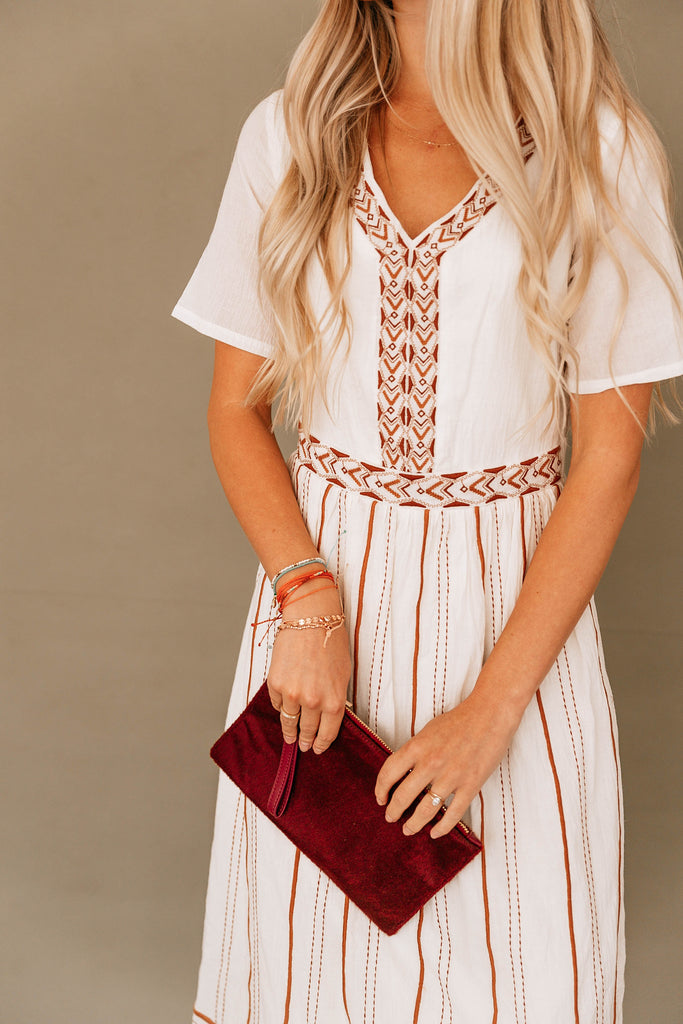 Ivory Geometric Embroidered Dress