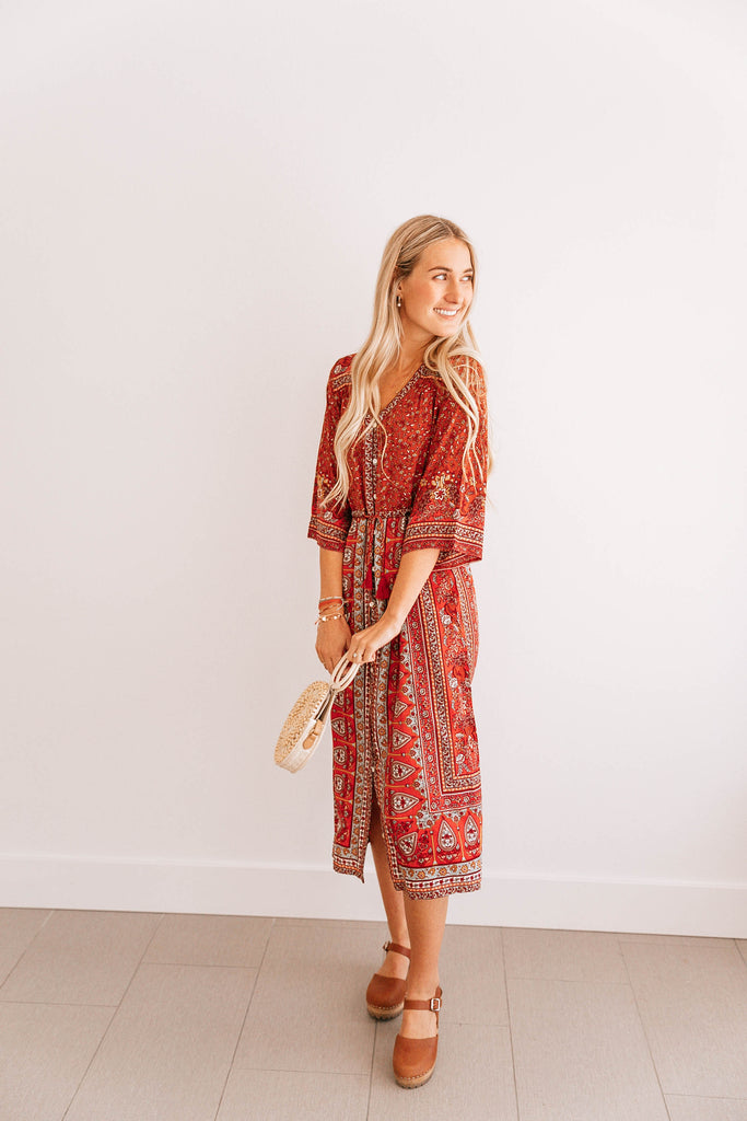 Red Floral Arabesque Dress