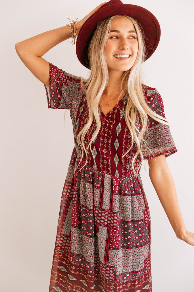 Geometric Patchwork Dress