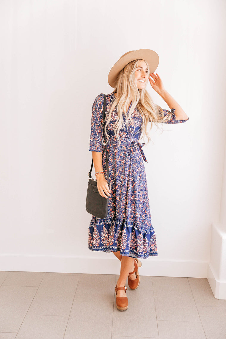 Ruffle-Hem Wrap Dress