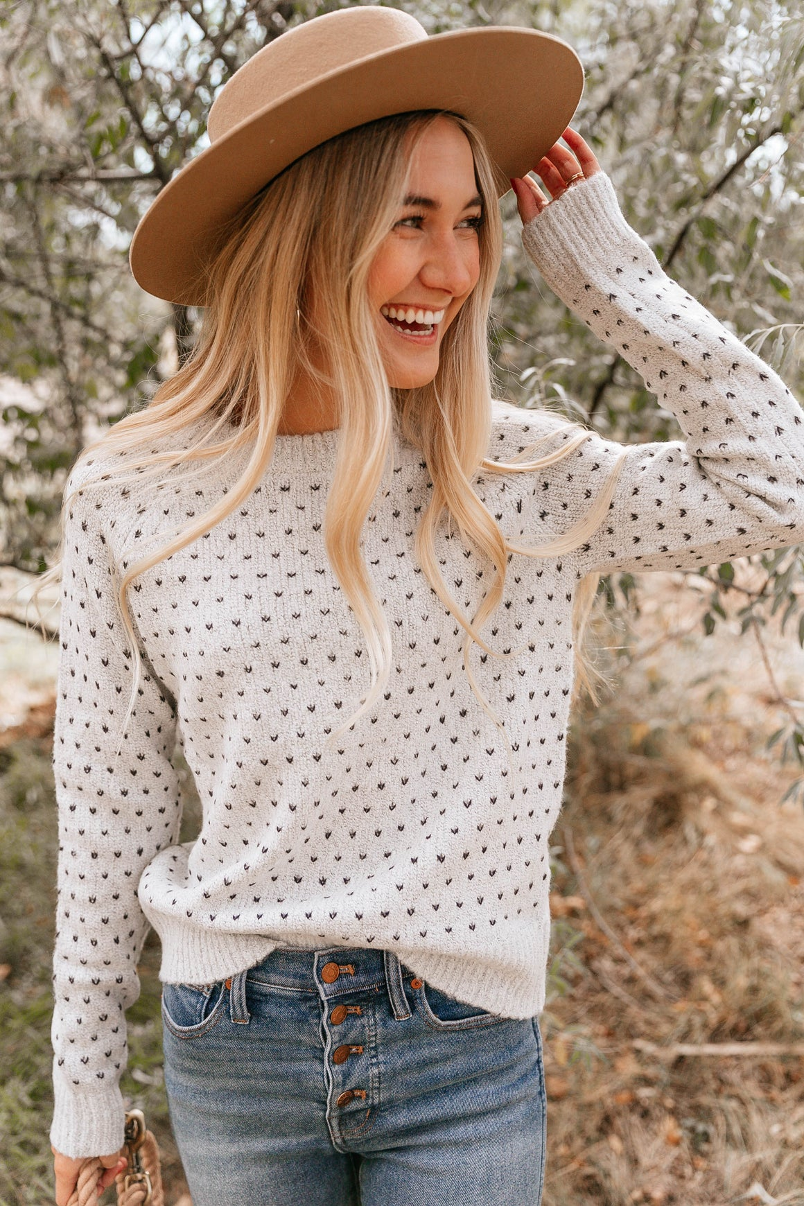 Ivory Pin Dot Sweater