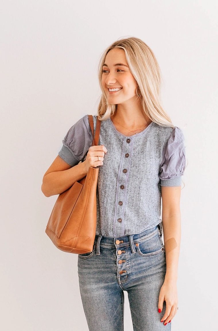 Melange Puff-Sleeve Top