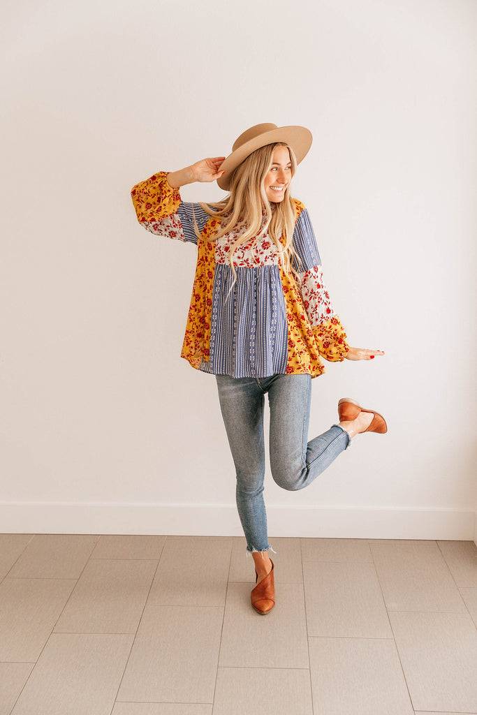Floral Puff-Sleeve Tunic