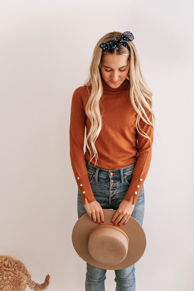 Button-Cuff Mock Neck Top