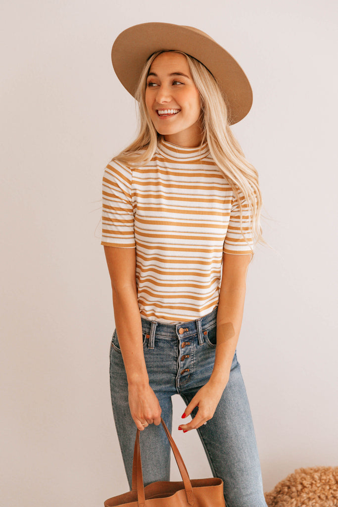 Stripe Mock Neck Tee