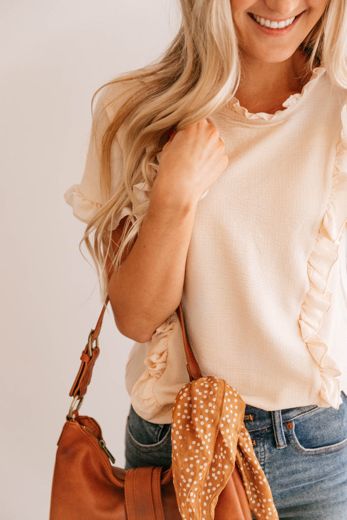Cream Ruffle-Trim Top