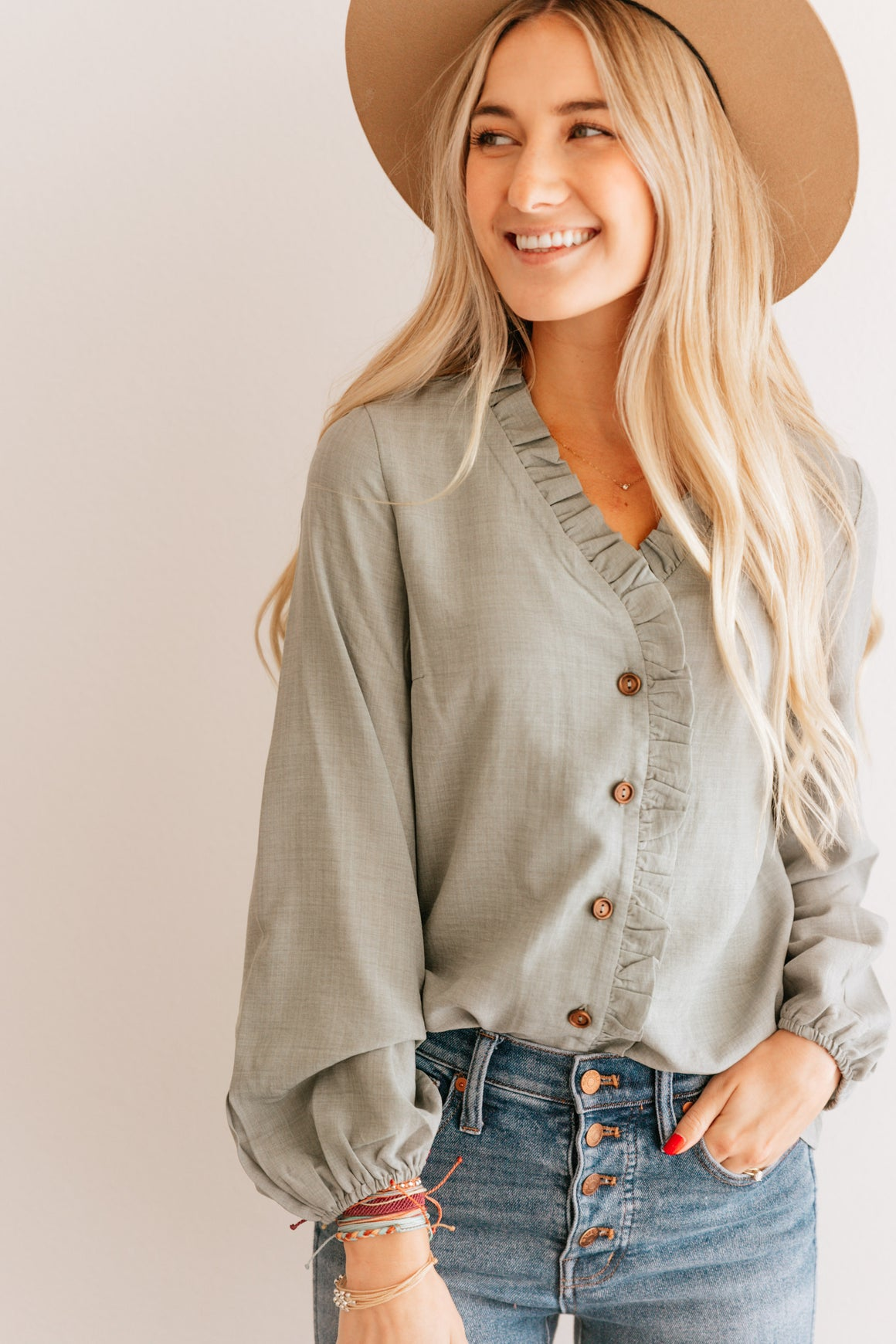 Ruffle Trim Button up Top