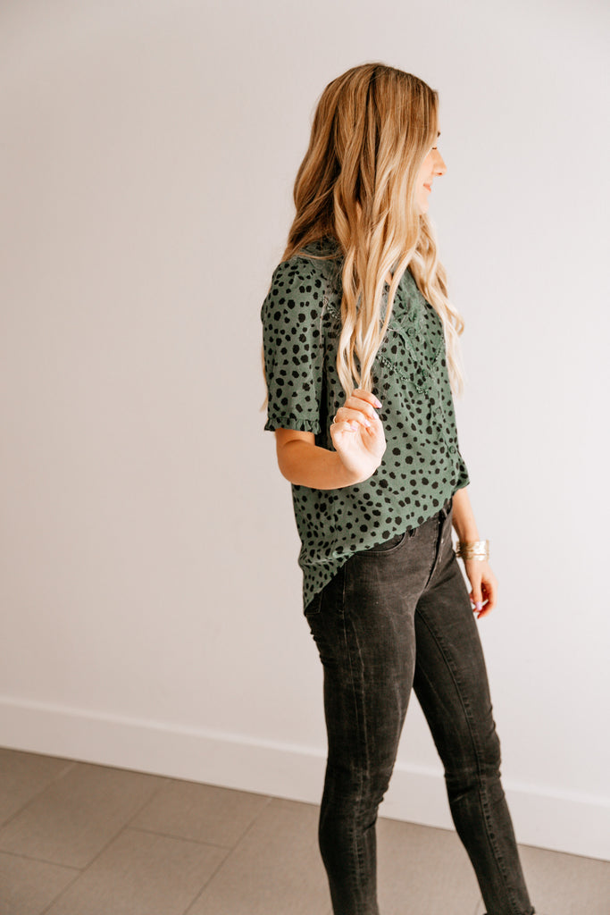 Laced Leopard Top