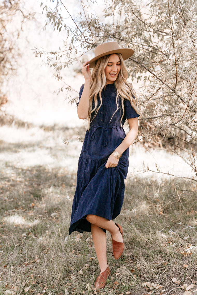NAVY TIERED PEASANT DRESS