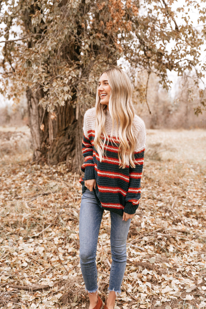 Navy Mock Neck Sweater