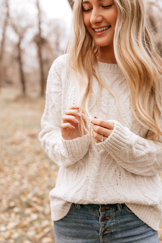 Natural Cable-Knit Crewneck Sweater