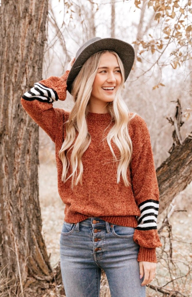 Stripe Accent Crewneck Sweater
