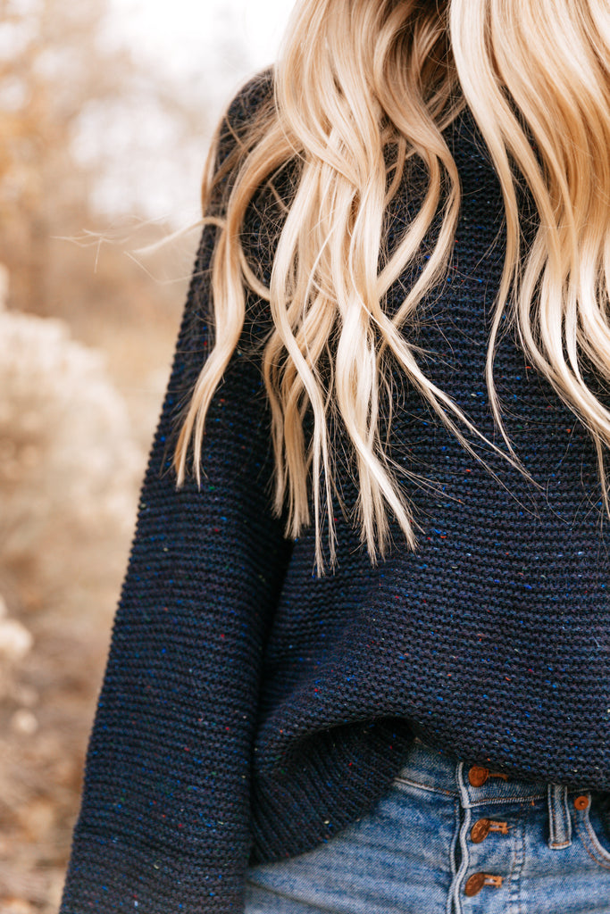 Navy Speckled Bell-Sleeve Sweater