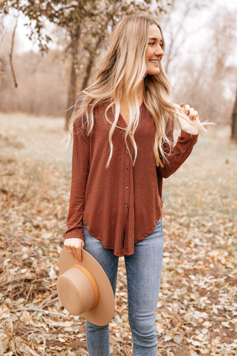 Brown Pointed Hem Button-Up Cardigan