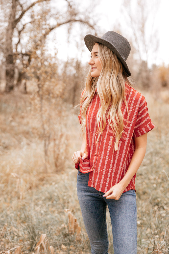 Rust Stripe Pocket Button-Up