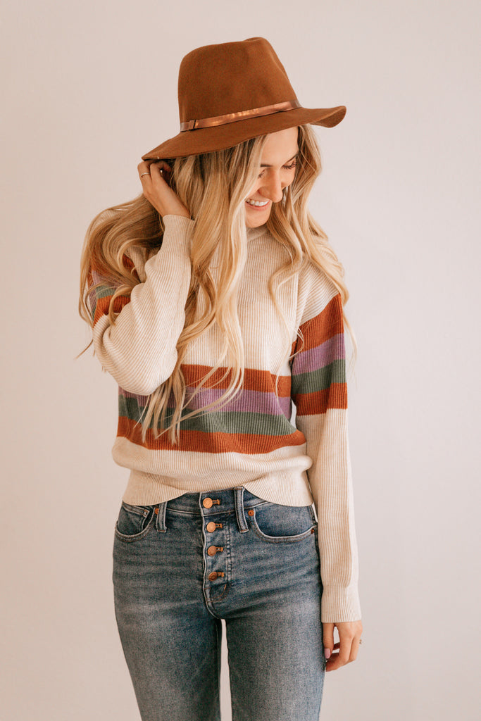 Ribbed Stripe Crewneck Sweater