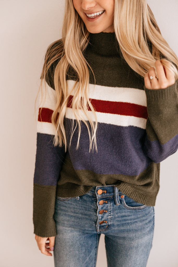 Olive & Blue Stripe Crewneck Sweater