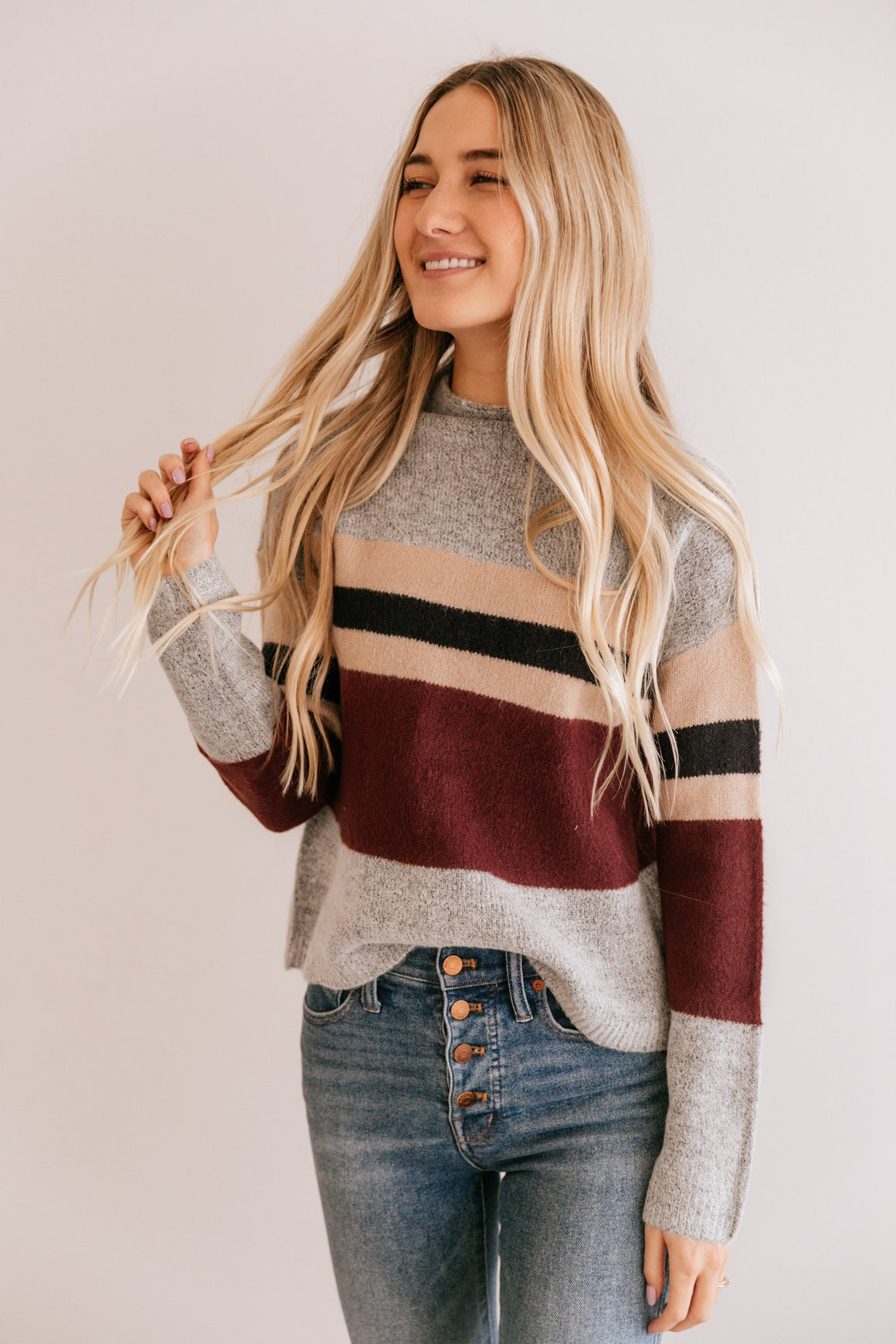 Bold Stripe Drop Sleeve Sweater