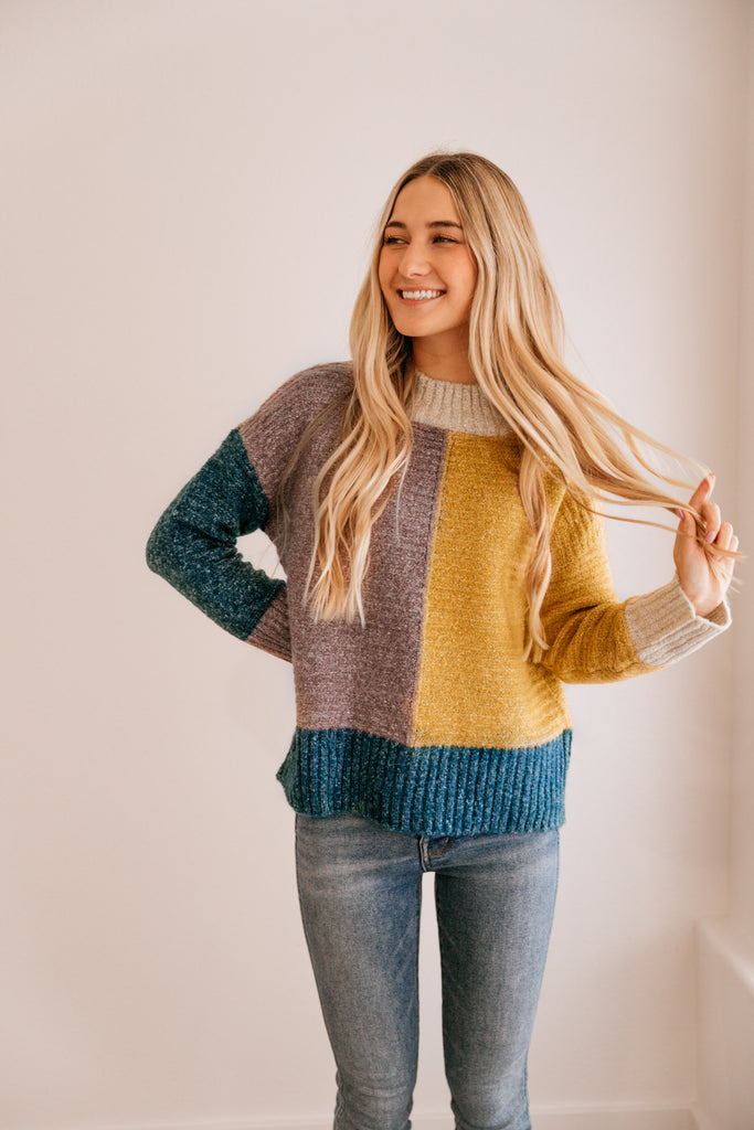 Color Block Drop-Shoulder Sweater