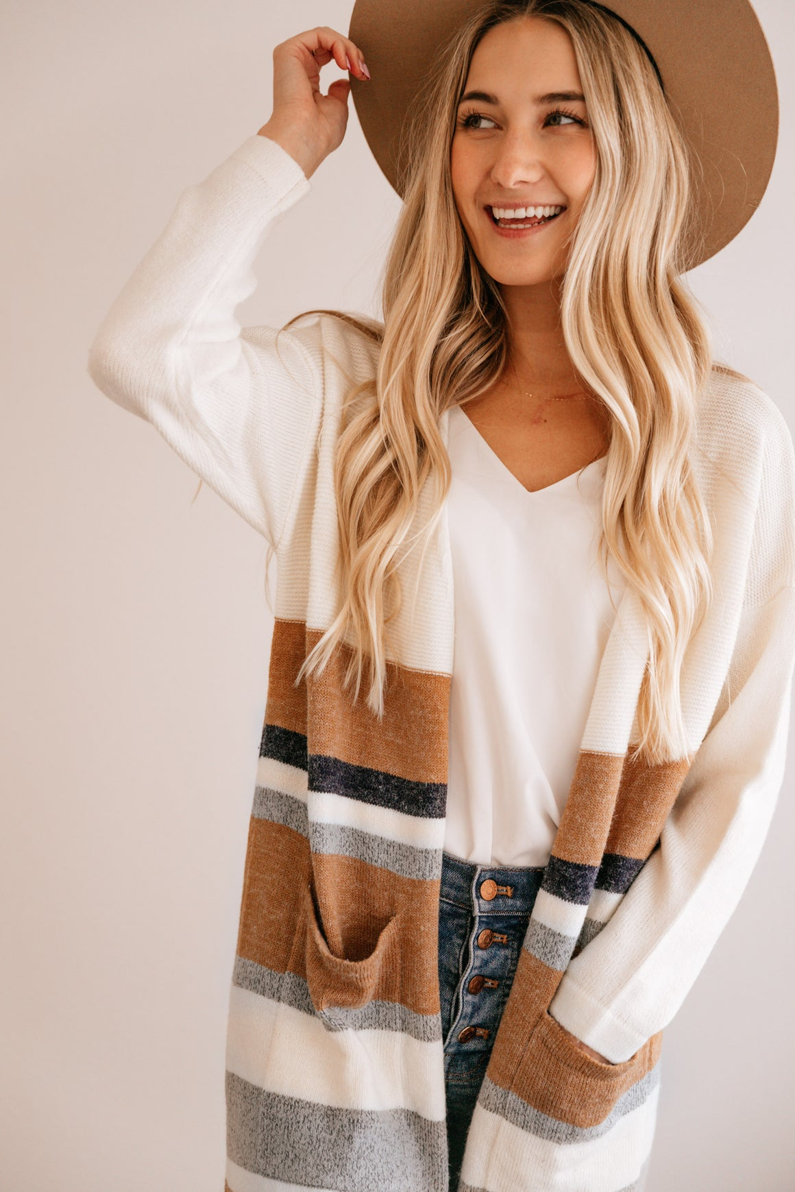 Stripe Pocket-Accent Open Cardigan