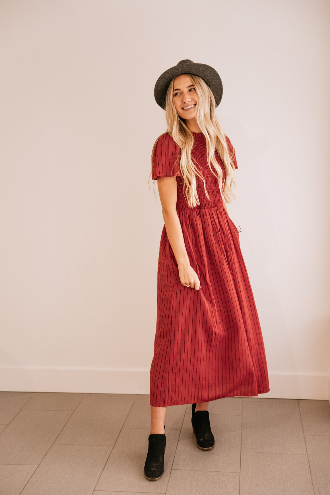 Rust Pocket-Accent Midi Dress